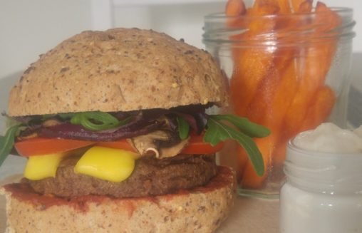 mouth watering plant-based burger